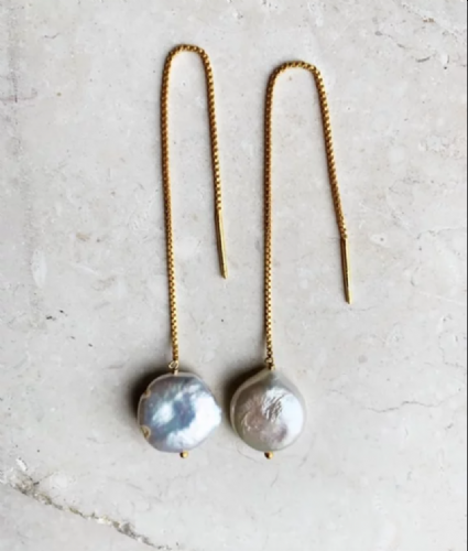 Merel - Chain Earring With Baroque Pearl
